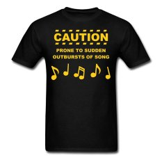AOSEN FASHION Custom Printed Men's Caution Prone T-Shirts Black