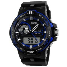 AOXINDA Men Korean Style Dual Time Waterproof Sport Bussiness Watch - Blue - Intl