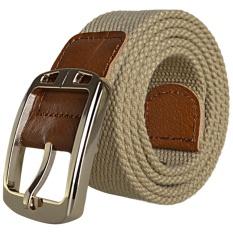 AOXINDA New Fashion Women & Men's Canvas Golden Buckle Causual Belt 125cm - Khaki - Intl