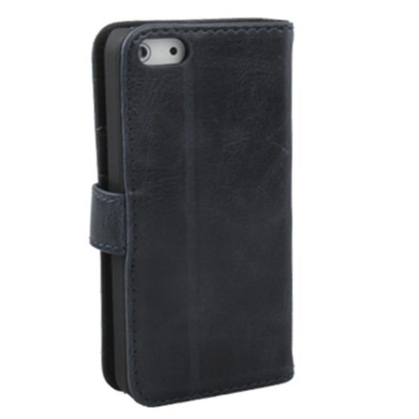 Apple Genuine Leather Case with Credit Card Slots & Holder edisi iPhone SE / 5S / 5 - Dark Blue
