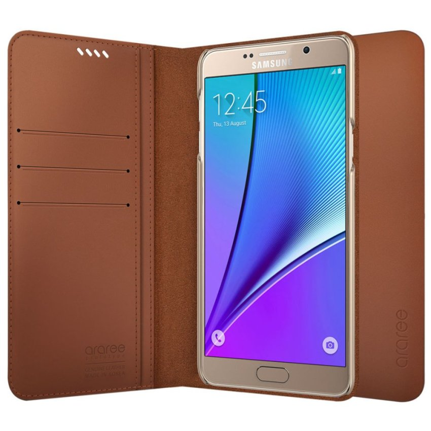 Araree Slim Diary Genuine Leather Wallet Cover for Galaxy NOTE 5 (Brown) (Intl)