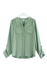 ASTAR Button Pocket Women Casual T Shirt Chiffon Blouses (Green) (Intl)
