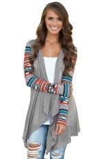 Astar Fashion Ladies Women Casual Geometric Print Long Sleeve Front Open Asymmetric Hem Tops Cardigan Coat (Grey) (Intl)