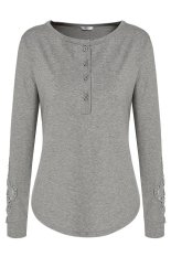 Astar Meaneor Ladies Women Casual Lace Patchwork Long Sleeve Front Button Blouse Tops (Grey) ϼ