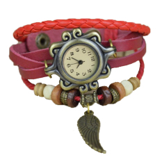 Astar Women's Synthetic Leather Hand Band Bracelet Quartz-Watch Wrist Watch (Red) (Intl)