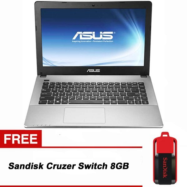 "Asus A455LF-WX039D - 14"" - Intel Core i5-5200U - 4GB RAM - Hitam + Gratis Sandisk Cruzer Switch 8GB"
