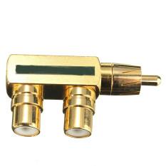 Audew Gold Plated AV Audio Splitter Plug RCA Adapter RCA Converter 1 Male To 2 Female (Green) (Intl)
