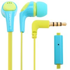 Awei ESQ6i Super Bass In-ear Earphone with 1.2m Cable Mic Next Song For Smartphone Tablet PC (Blue)