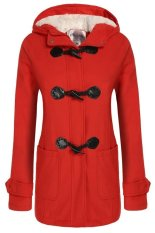AZONE Angvns Stylish Ladies Women Casual Long Sleeve Hoodie Hip Length Solid Winter Warm Pockets Coat Outwear (Red) (Intl)