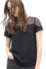 Azone Causal O Neck Lace T-Shirt (Black) - Intl
