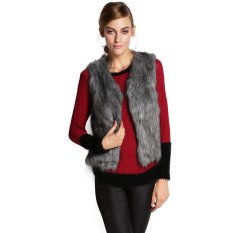 Azone Fall Winter Women Faux Fur Vest Winter Vest Sleeveless Waistcoat (Grey)