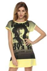 AZONE Finejo Fashion Casual Milk Silk Short Sleeve Home Summer T-shirt Tops (Yellow) - Intl