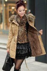Azone Lady Women Fashion Long Sleeve Hooded Long Coat Parka Casual Coat With Tassel (Khaki) (Intl)