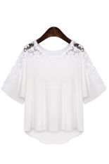 Azone Lady Women's Casual Irregular Lace Short Sleeve OffShoulder Hollow Out T-Shirt (White) - Intl