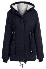 AZONE New Stylish Meaneor Women Casual Long Sleeve Front Zipper Fleece Hooded Coat (Navy Blue) (Intl)