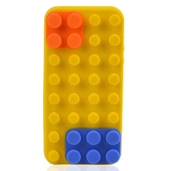AZONE Soft Silicone Gel Blocks Pattern Case Protector Cover For iPhone 5 (Yellow)