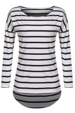 AZONE Stylish Women Casual Loose Striped Top O-Neck Long Sleeve Leisure Blouse (Intl)