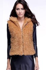 AZONE Women Fall Winter Faux Fur Vest Winter Sleeveless Luxury Fur Waistcoat (Khaki)