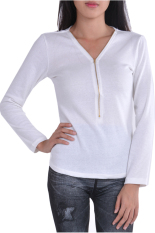 Azone Women Long Sleeve T-Shirt Fashion V Neck Zipper Front Slim Tops Blouse (White) (Intl)