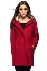 Azone Women Warm Hooded Long Sleeve Zipper Long Wool Blend Coat Outwear (Red) (Intl)