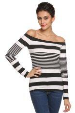 AZONE Zeagoo Women Lady Long Sleeve Off Shoulder Stripe Slim Top Casual T-Shirt (Black + White) - Intl
