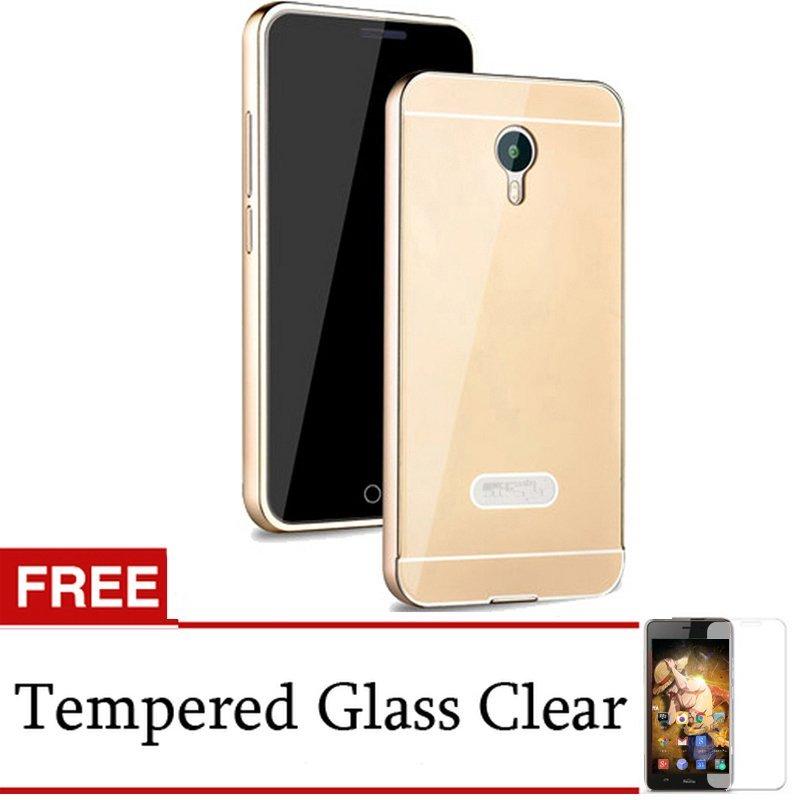 Back Door Case Meizu M2 Note Metal Aluminium Bumper - Gold + Gratis Tempered Glass