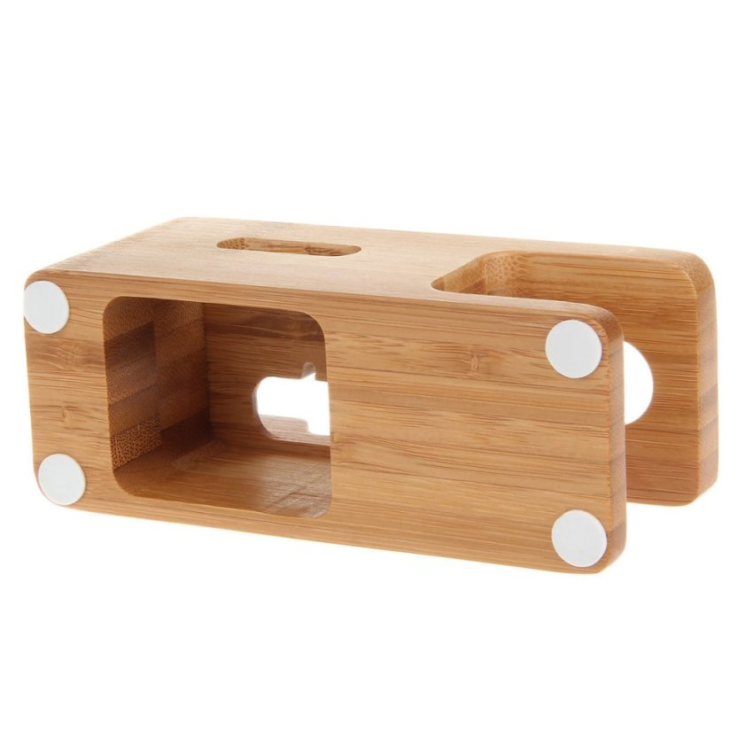 Bamboo Combo Charging Dock Cradle Holder for Apple Watch/ iPhone 6 / 6 plus / 5S / 5C / 5 - Wood Color (Intl)