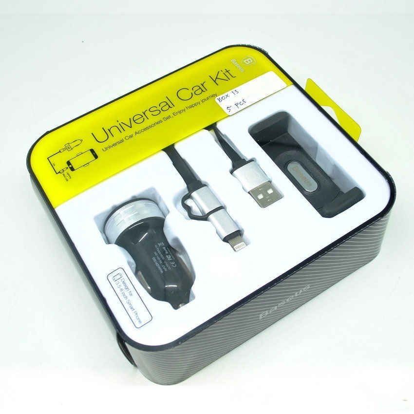Baseus 3 in 1 Series Duo Lightning Micro USB Cable - Car Charger - Air Vent Mount - Hitam
