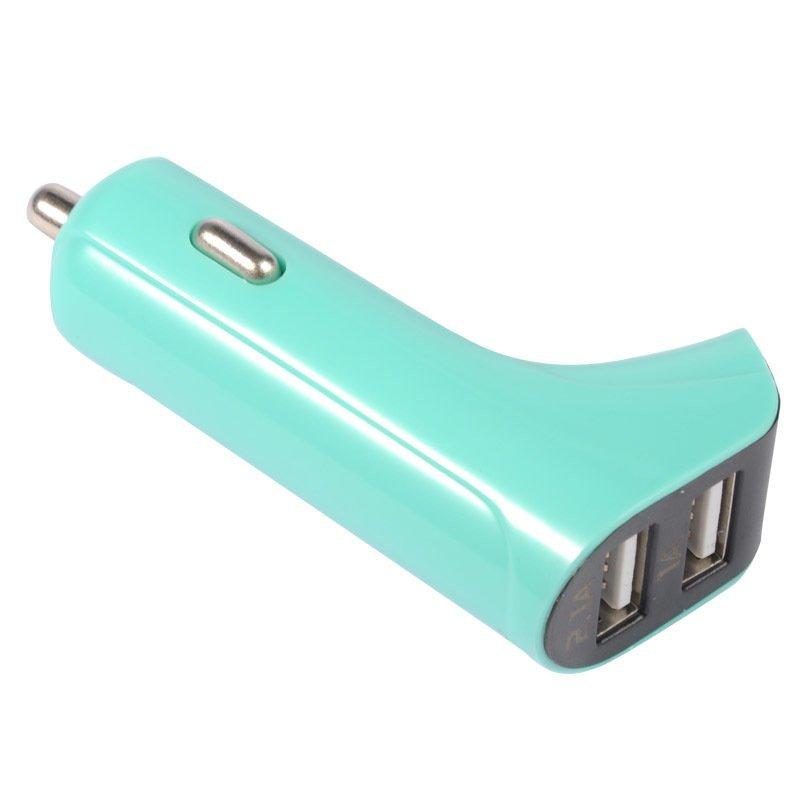 Baseus F-Series Double USB Car Charger - Cyan + Free Baseus iPhone 5 Lightning Data White 1M