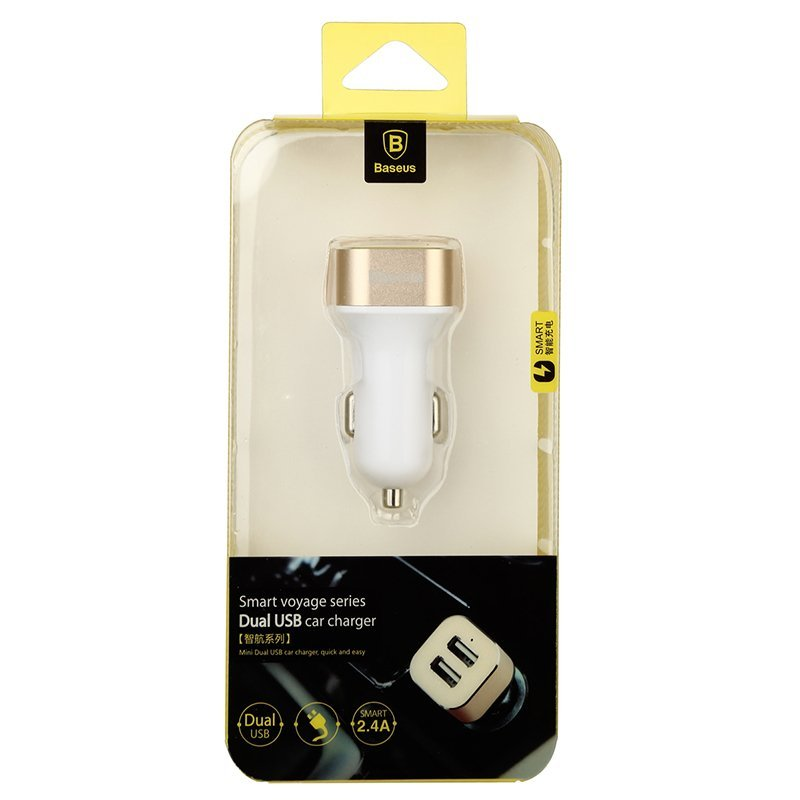 Baseus Fashion Smart Thin 2.4A Dual Port USB Car Charger Adaptor for Mobile Phones (WHITE+GOLD) (Intl)