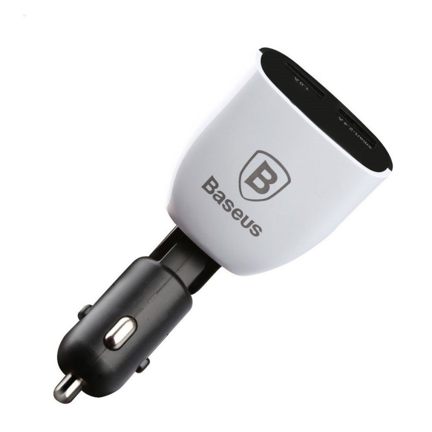 Baseus Smart Series Car Charger Dual USB with LCD Display 3.4A - White