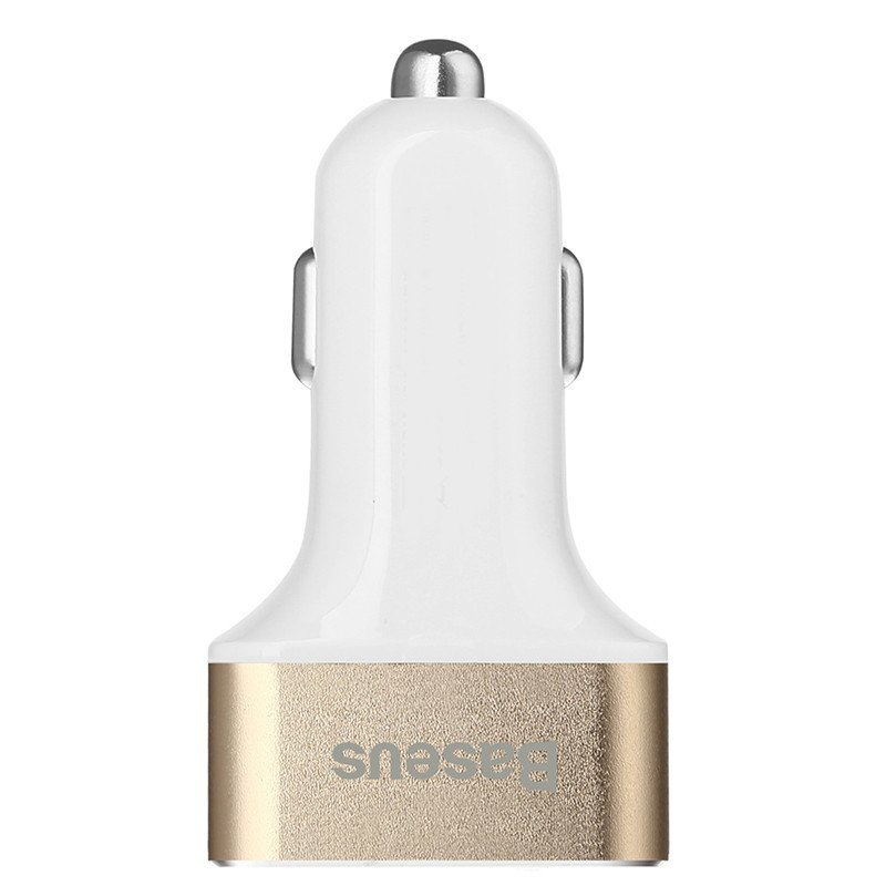 Baseus Smart Voyage Series Three-port USB Car Charger - Putih-Gold