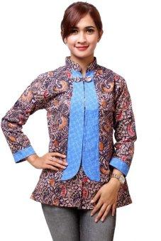Batik Distro BA4938 Blus Wanita Model Rompi Fixed Biru | Lazada ...