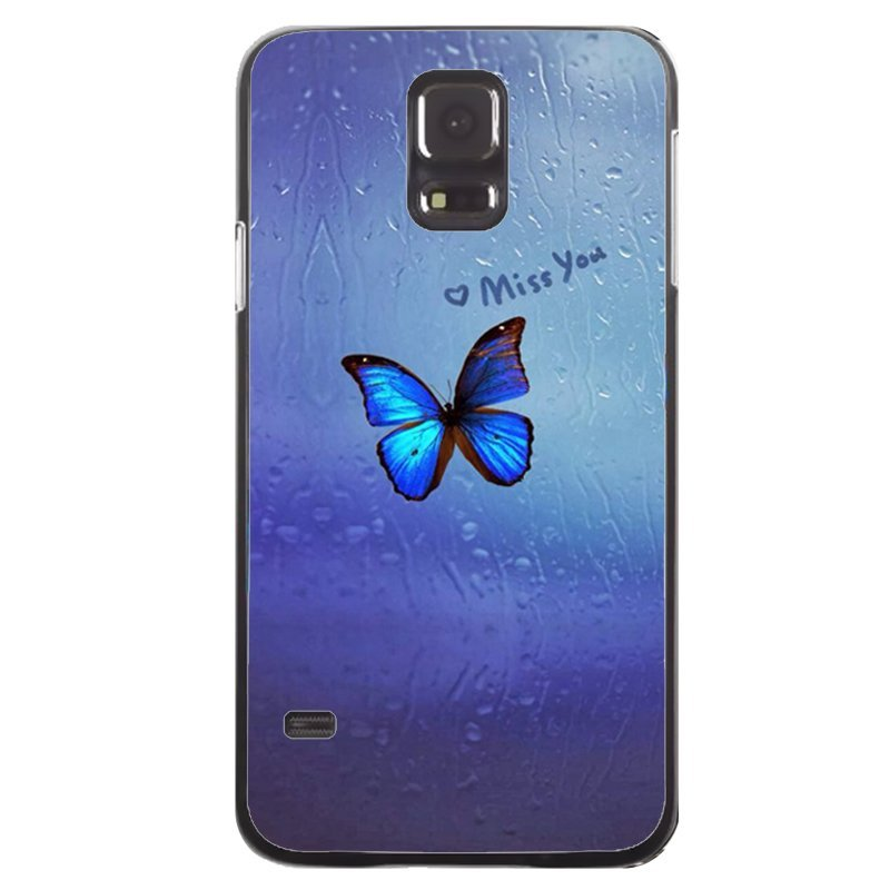 Beautiful Blue Butterfly Printed Phone Case for Samsung Galaxy S5 (Black)