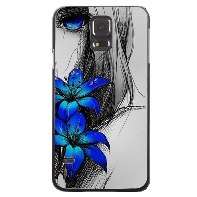 Beautiful Blue Flower Printed Phone Case for Samsung Galaxy S5 (Black)