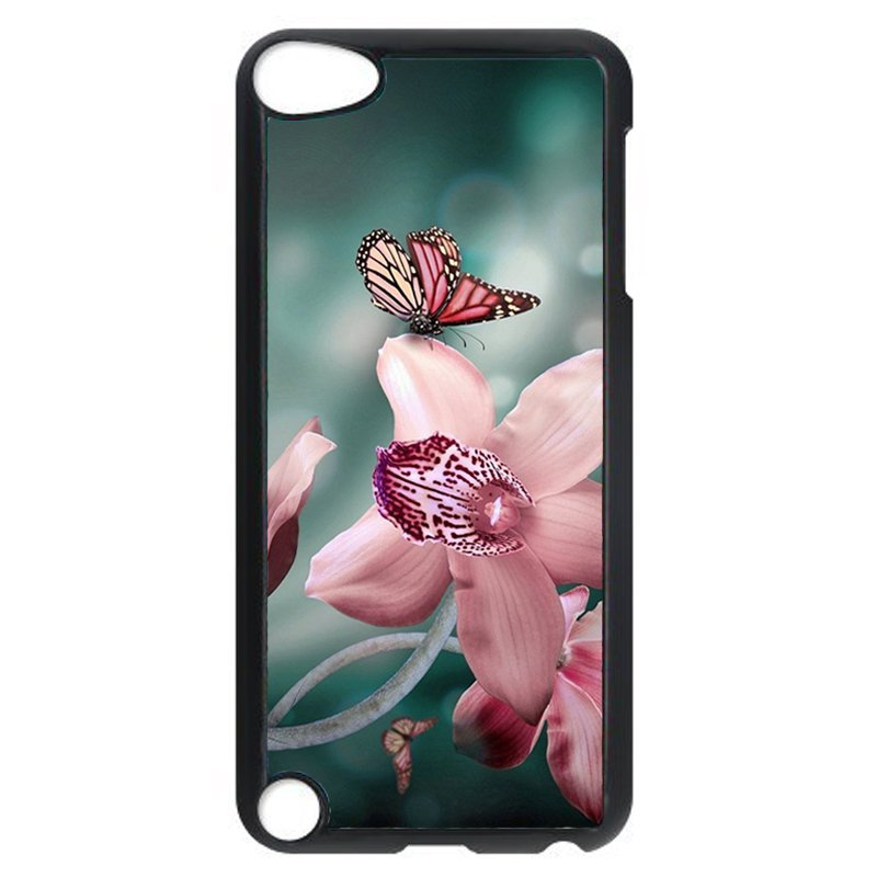 Beautiful Butterfly And Flower Phone Case for iPod Touch 4 (Black)