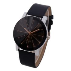 Bessky Men's Black Round Dial Clock Leather Strap Quartz Wrist Watch (Intl)