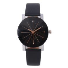 Bessky® Luxury Men's Black Round Dial Clock Leather Strap Quartz Wrist Watch-female Models (Intl)