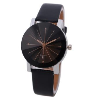 Bessky Women's Black Round Dial Clock Leather Strap Quartz Wrist Watch