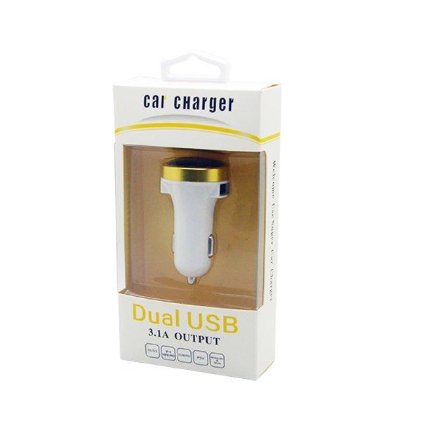 Best CT 3.1A-5V Side Slot Dual USB Super Car Charger  Putih/Kuning