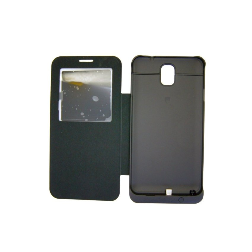 Best CT 4200mAh external power case with S view  flip-cover For Samsung Note 3- Hitam