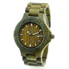 BEWELL Men Auto Date Big Dial Handmade Maple Wooden Watches Green Color Wood Watch - Intl