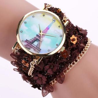 Bigskyie Lace Wrap Around Bracelet Crystal Synthetic Chain Analog Quartz Wrist Watch Coffee Free Shipping
