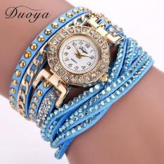 Bigskyie Women Luxury Crystal Women Gold Bracelet Quartz Wristwatch Rhinestone Watches Sky BlueFree Shipping