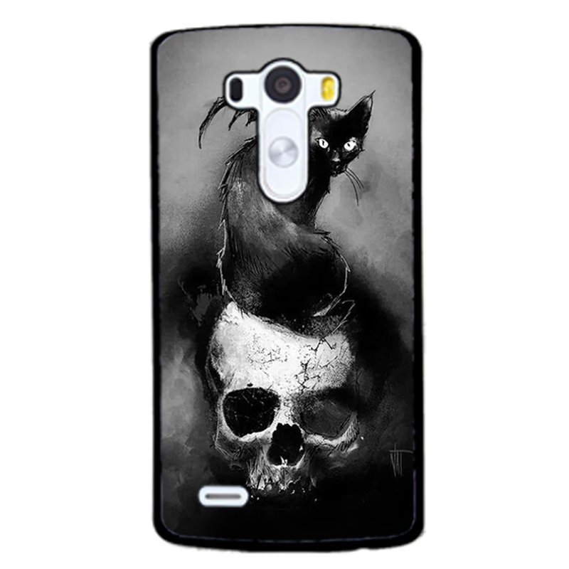 Black Cat Skull Head Phone Case for LG G3 (Black)