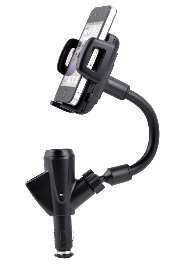 Black Dual USB 2-Port Car Charger Phone Mount Holder for iPod GPS iPhone 4S/5S/5C