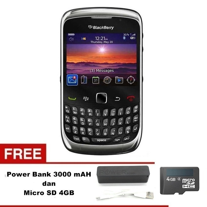 Blackberry Keppler 9300 - 256 MB - Abu abu Grafit + Gratis Micro SD 4GB - Power Bank 3000mAh