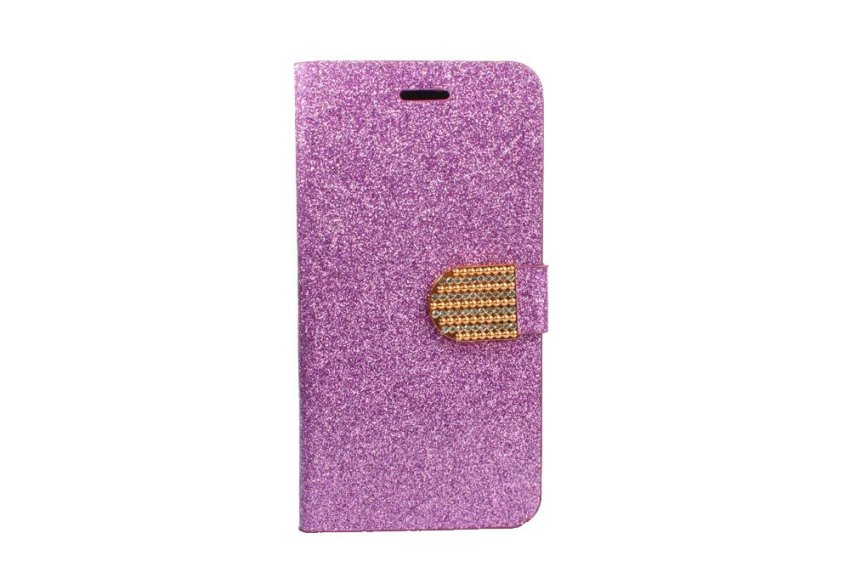 Bling Glitter PU Leather Flip Case with Card Holder for iPhone 6 Plus Purple