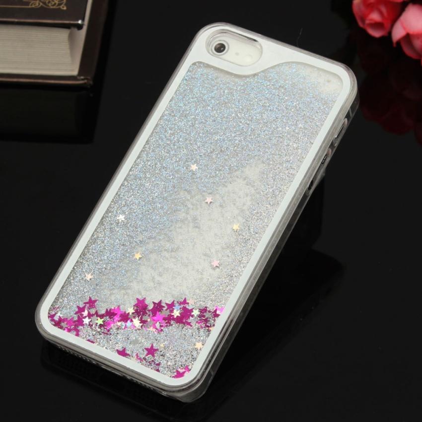 Bling Liquide Paillettes Etoiles Coque Housse Etui Cover pour iPhone 5 5S 6 Plus Silver (Intl)