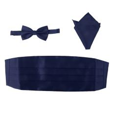 BolehDeals 3pcs Men's Satin Bow Tie Cummerbund Hanky Handkerchief Deep Blue